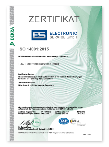 Electronic Service Zertifikat ISO 14001 2015
