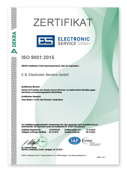 Electronic Service Zertifikat ISO 9001 2015