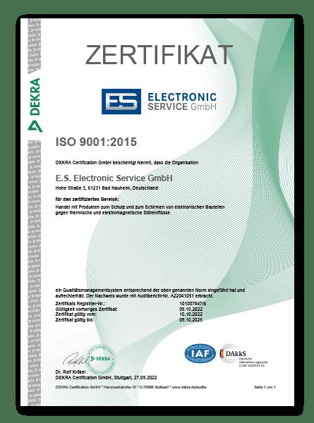 Electronic Service Zertifikat ISO 9001 2015