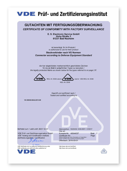 Electronic Service vde zertifikat